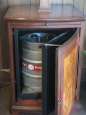 Kegerator wood cabinet cabinets matttroy Home bar furniture with kegerator